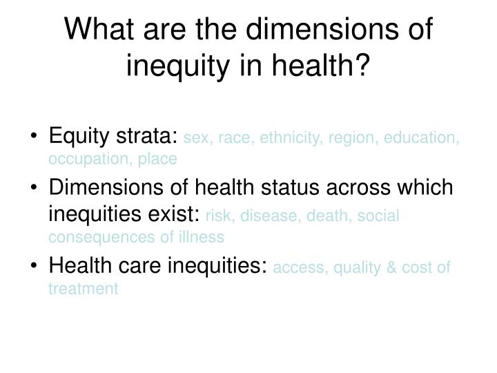 What are the dimensions of inequity in health?