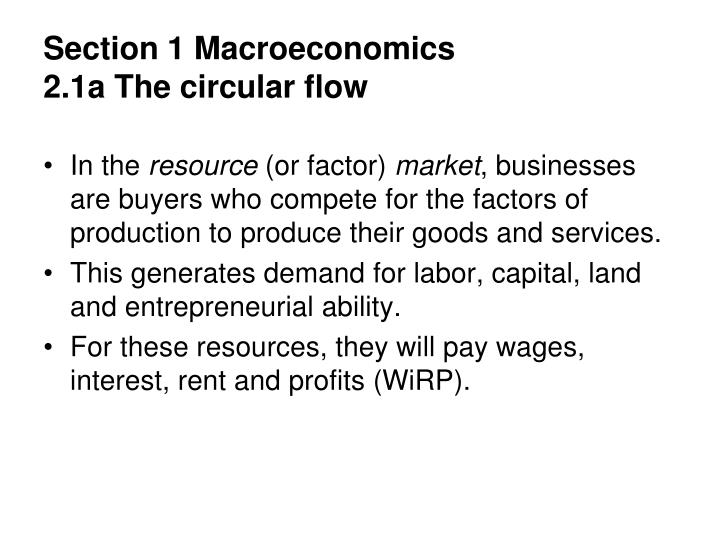section 1 macroeconomics 2 1a the circular flow n.