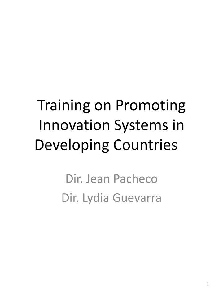 training on promoting innovation systems in developing countries n.