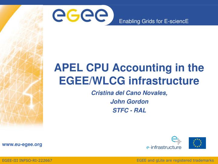 apel cpu accounting in the egee wlcg infrastructure n.