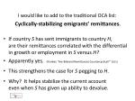 i would like to add to the traditional oca list cyclically stabilizing emigrants remittances