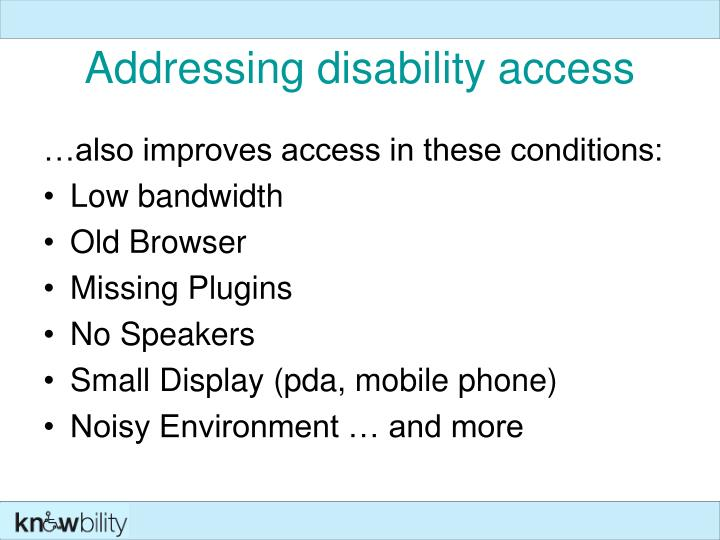 Addressing disability access