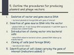 5 outline the procedures for producing plasmid and phage vectors