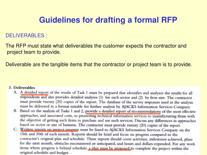 Guidelines for drafting a formal RFP