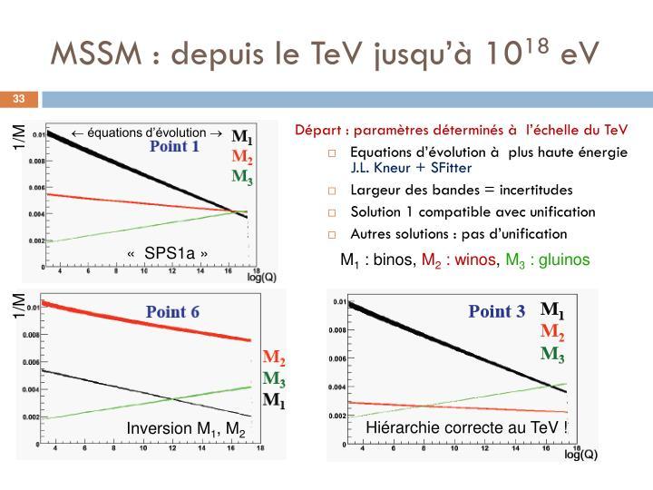 MSSM : depuis le TeV jusqu'à 10