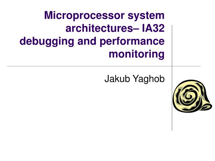 microprocessor system architectures ia32 debugging and performance monitoring n.