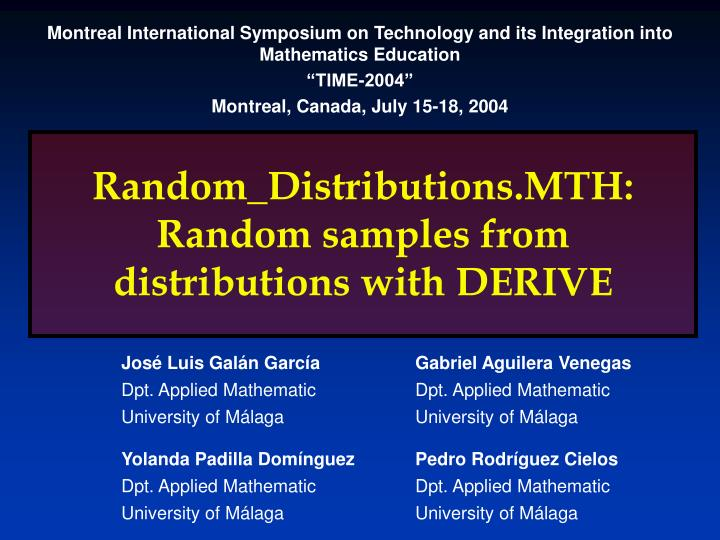random distributions mth random samples from distributions with derive n.