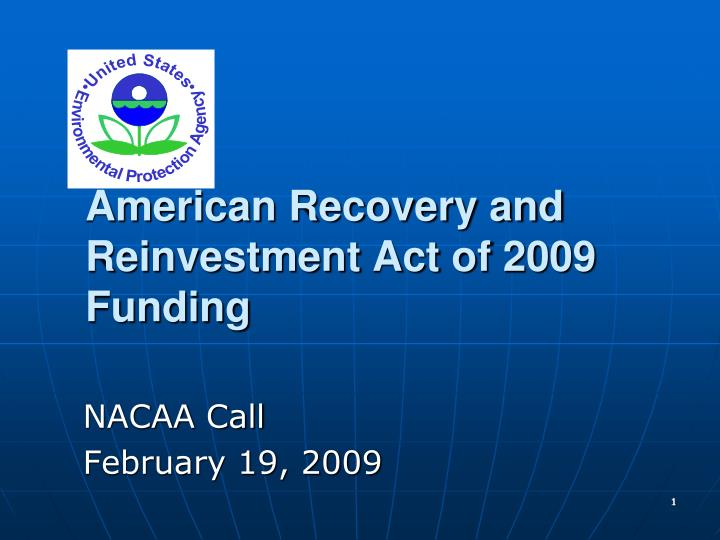 american recovery and reinvestment act of 2009 funding n.