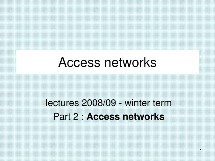 access networks n.