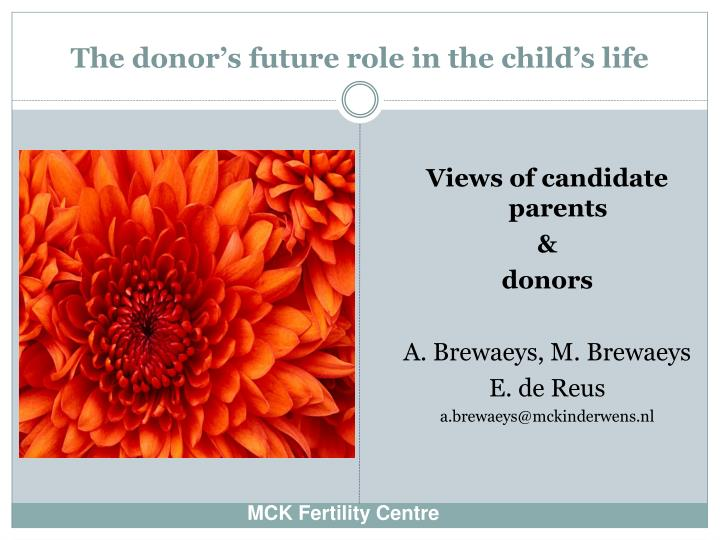 the donor s future role in the child s life n.