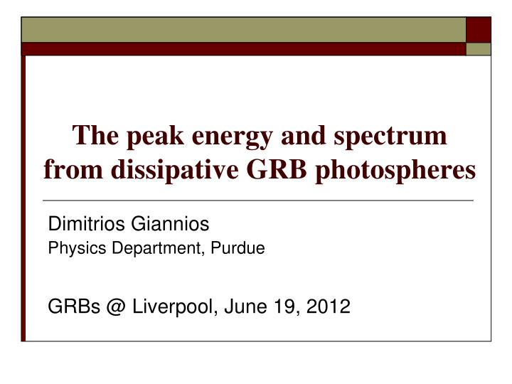 the peak energy and spectrum from dissipative grb photospheres n.
