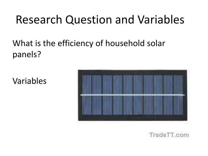 research question and variables n.