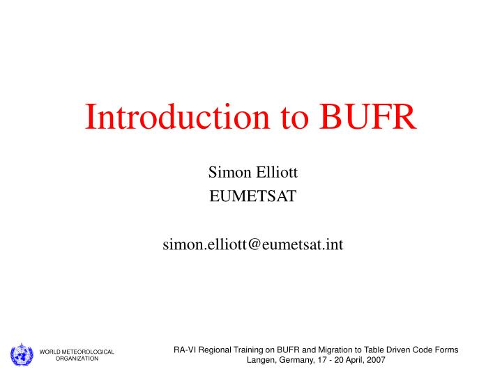 introduction to bufr n.
