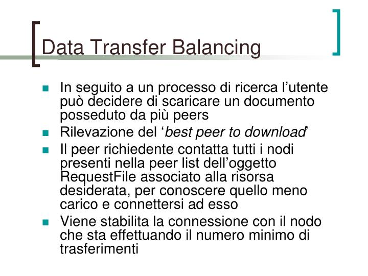 Data Transfer Balancing