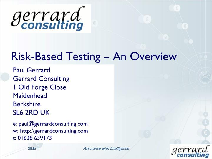 risk based testing an overview n.