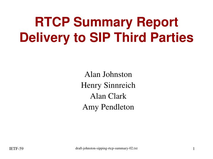 rtcp summary report delivery to sip third parties n.