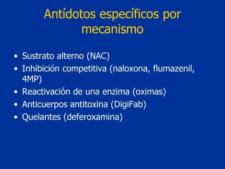 Antídotos específicos por mecanismo