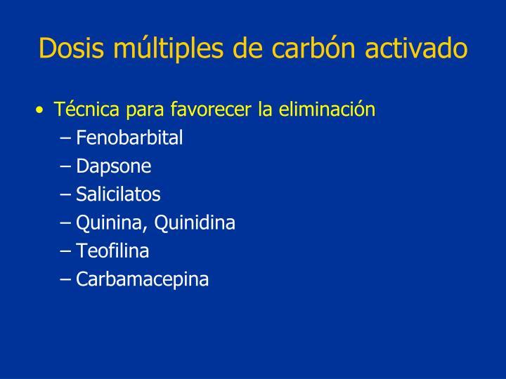 Dosis múltiples de carbón activado