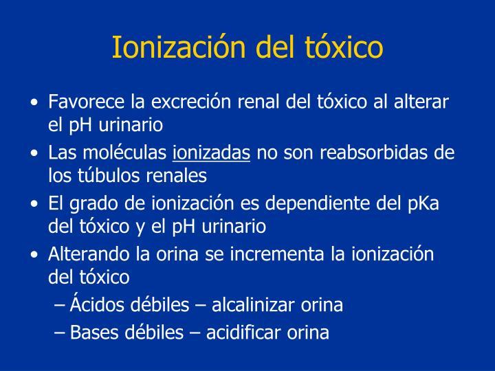 Ionización del tóxico