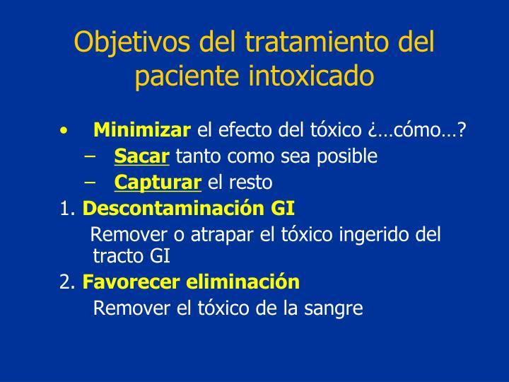 Objetivos del tratamiento del paciente intoxicado