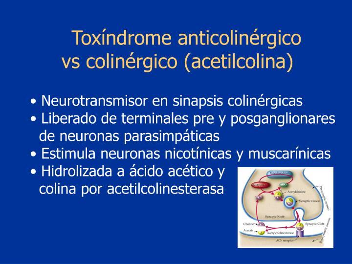 Toxíndrome anticolinérgico     vs colinérgico (acetilcolina)