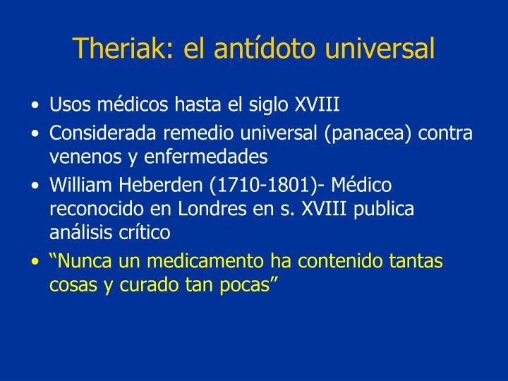 Theriak: el antídoto universal