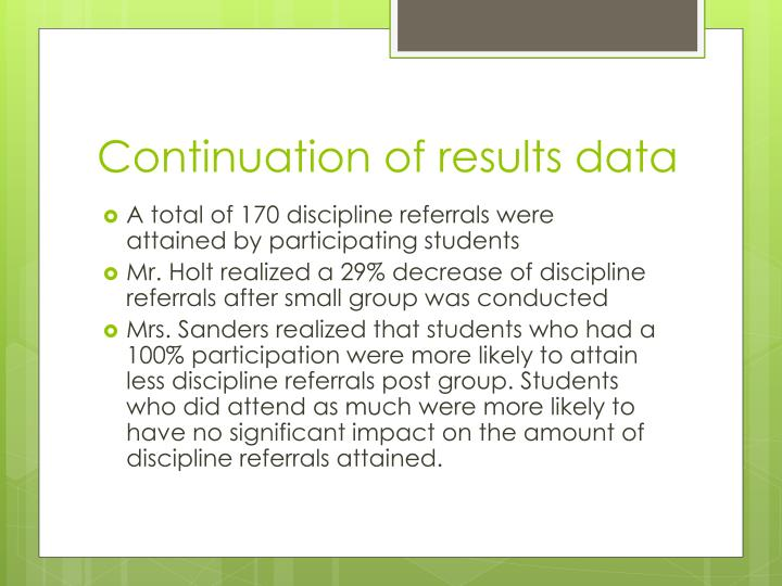Continuation of results data