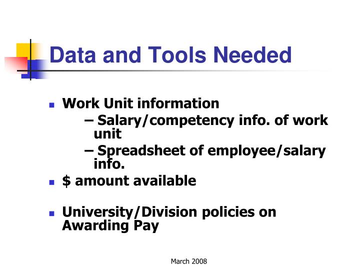 Data and Tools Needed
