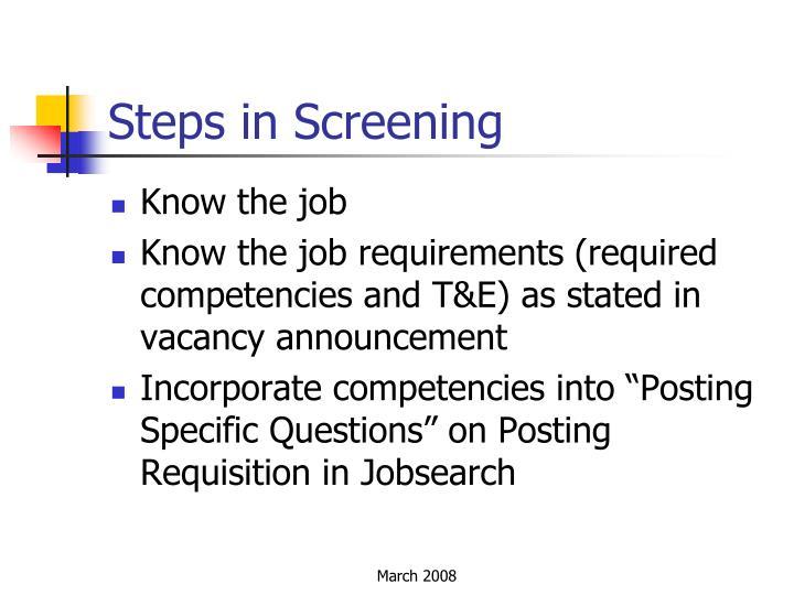 Steps in Screening