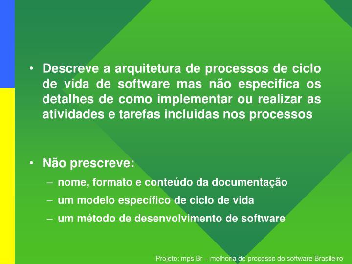 Descreve a arquitetura de processos de ciclo de vida de software mas não especifica os detalhes de como implementar ou realizar as atividades e tarefas incluidas nos processos