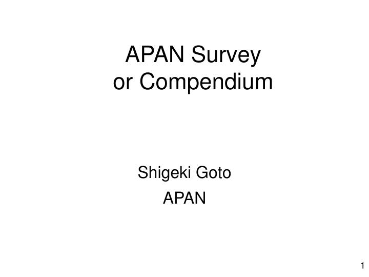 apan survey or compendium n.
