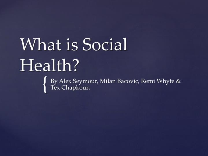 what is social health n.