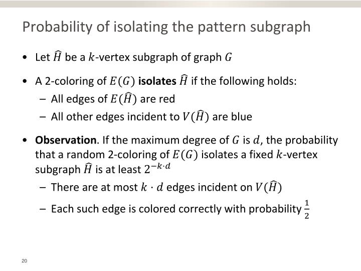 Probability of isolating the pattern