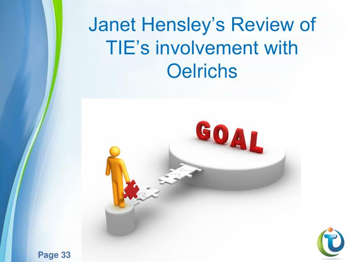 Janet Hensley's Review of TIE's involvement with Oelrichs