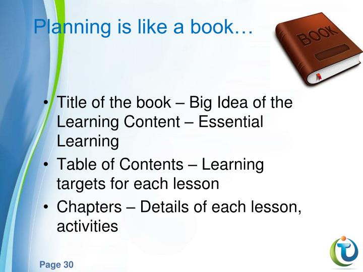 Planning is like a book…