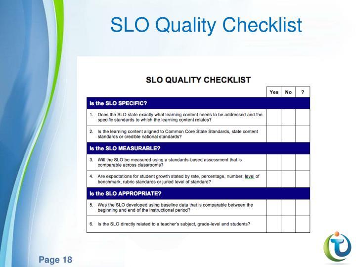 SLO Quality Checklist