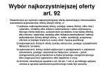 wyb r najkorzystniejszej oferty art 92