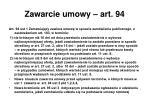 zawarcie umowy art 94