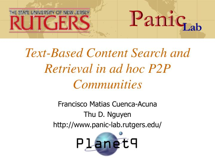 text based content search and retrieval in ad hoc p2p communities