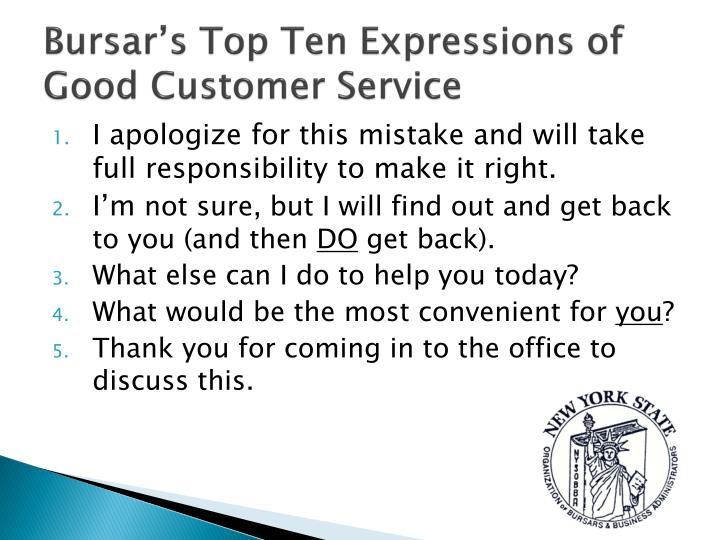 Bursar's Top Ten Expressions of Good Customer Service