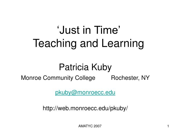 just in time teaching and learning n.