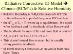 radiative convective 1d model climate rcm s relative humidity
