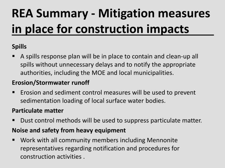 REA Summary - Mitigation measures in place for construction impacts