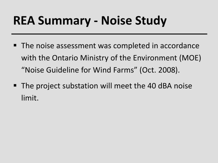 REA Summary - Noise Study