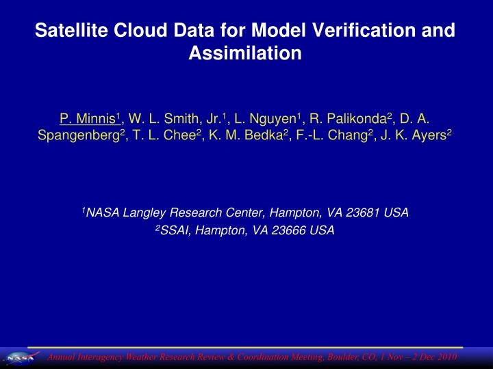 satellite cloud data for model verification and assimilation n.