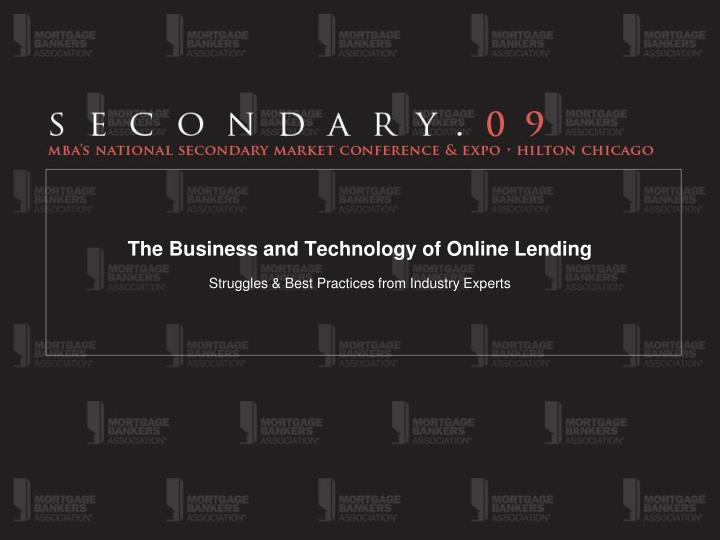 the business and technology of online lending n.