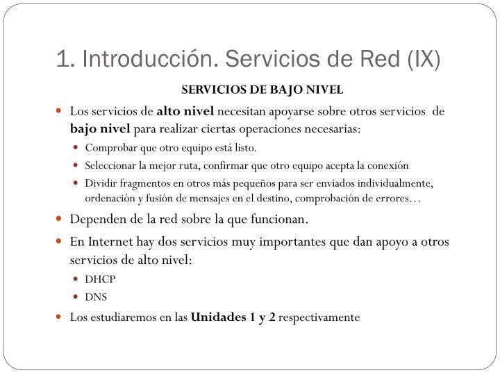 1. Introducción. Servicios de Red (IX)