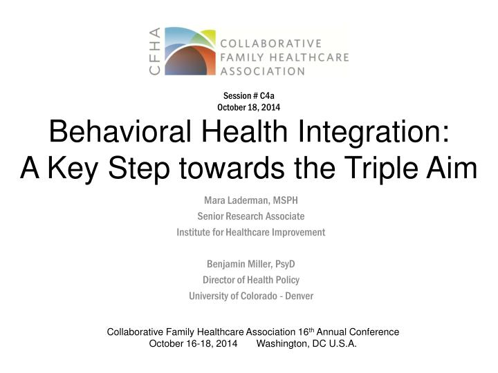behavioral health integration a key step towards the triple aim n.