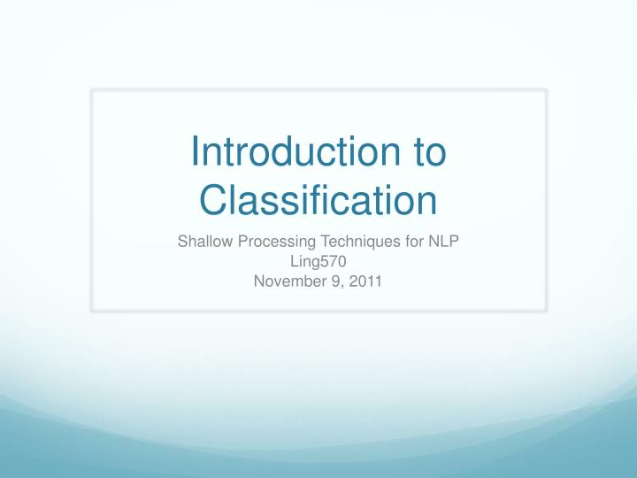 introduction to classification n.