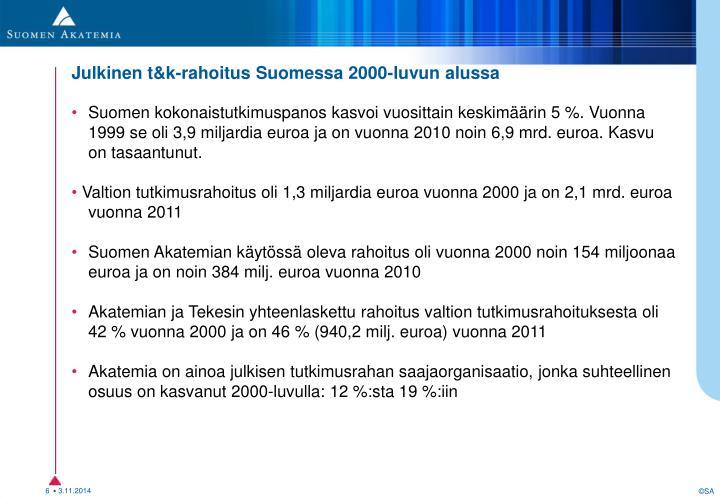 Julkinen t&k-rahoitus Suomessa 2000-luvulla